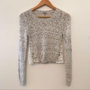 Charlotte Russe S grey white long sleeve crochet
